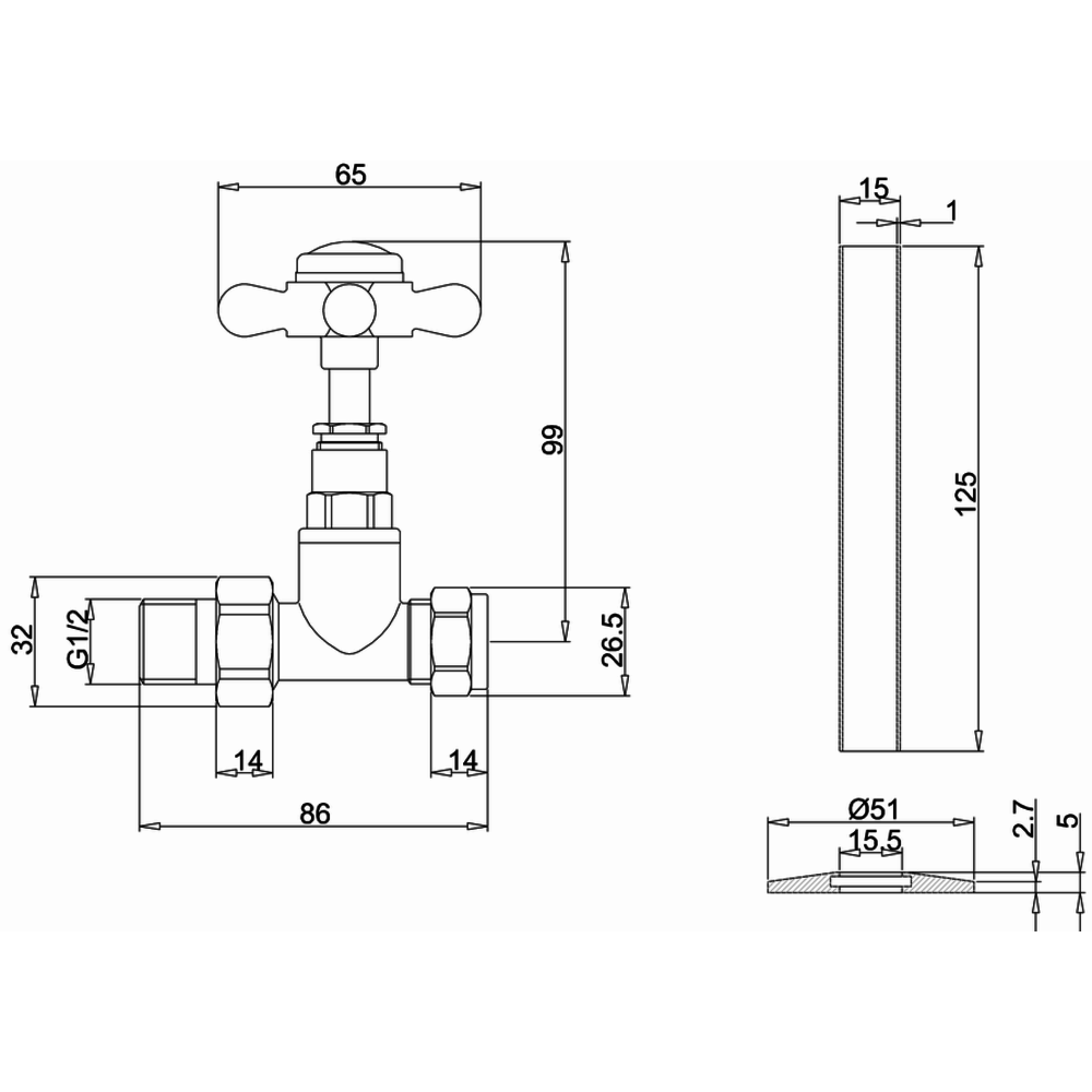 Burlington Traditional radiator valves R7