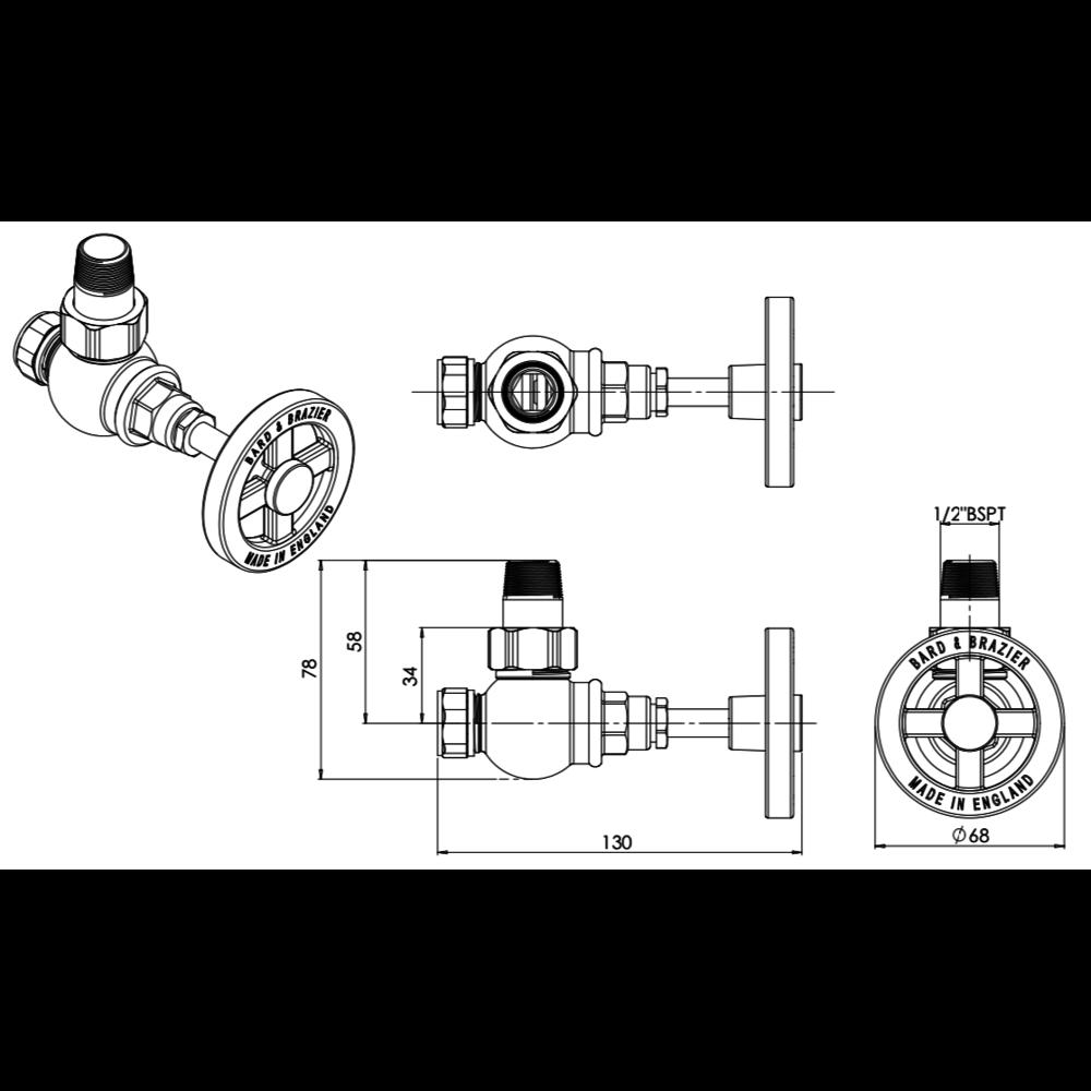 Bard & Brazier BB Pullman - Klassieke radiatorkraanset PRV