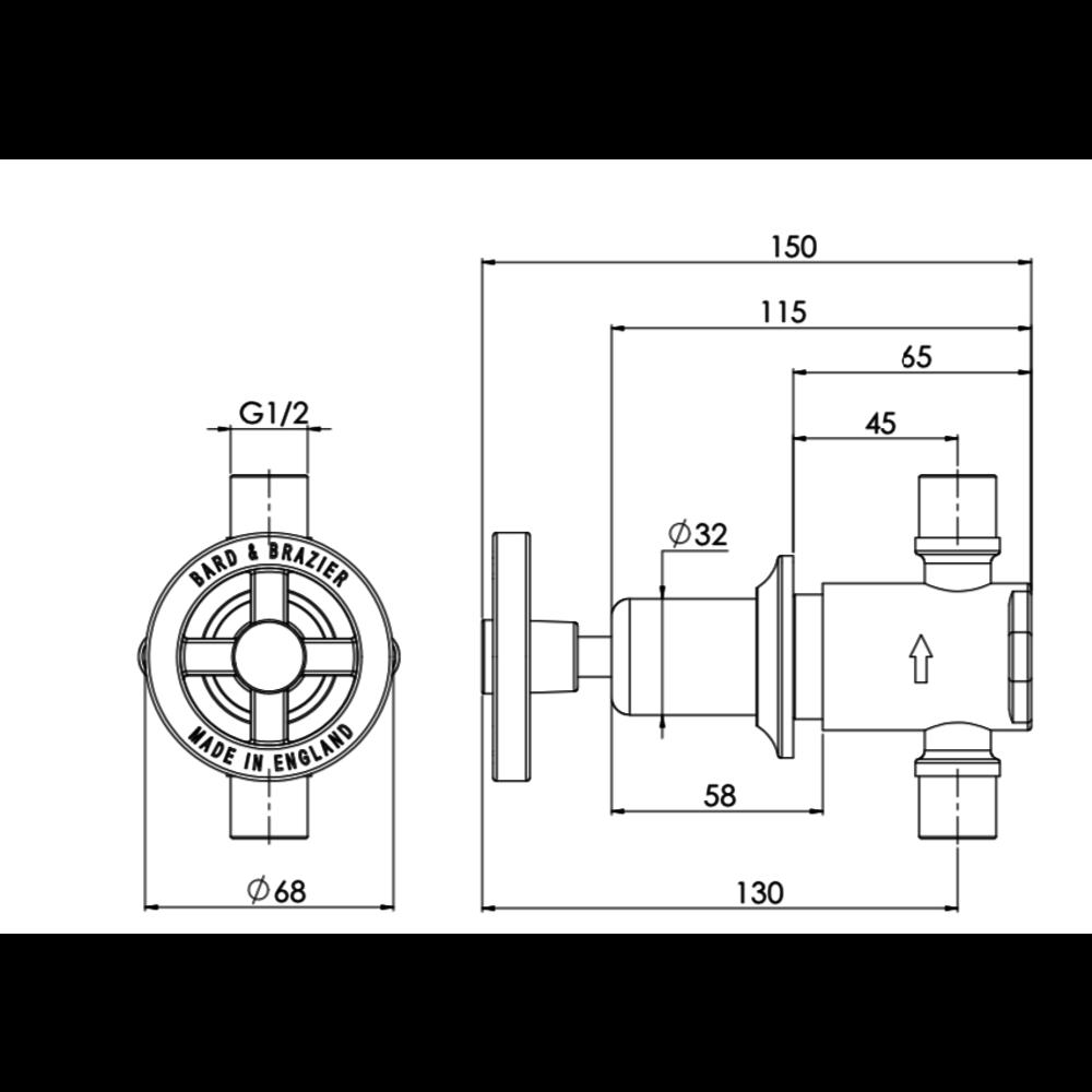 Bard & Brazier BB Pullman - Klassieke inbouw radiatorkraanset PRCV