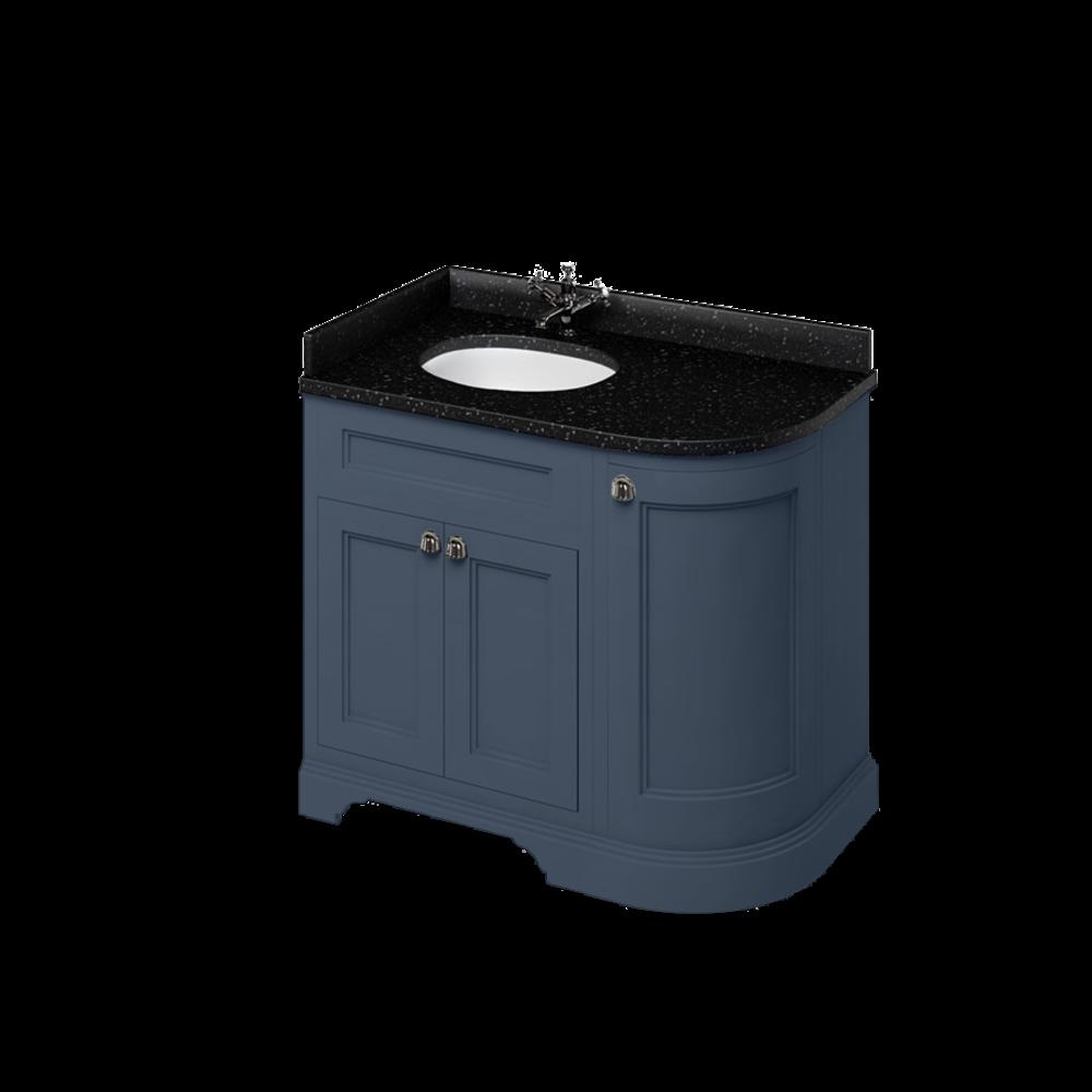 BB Edwardian 100 Wastafelkast met Minerva-blad Black Granite en onderbouwwastafel links FC2-BB98L