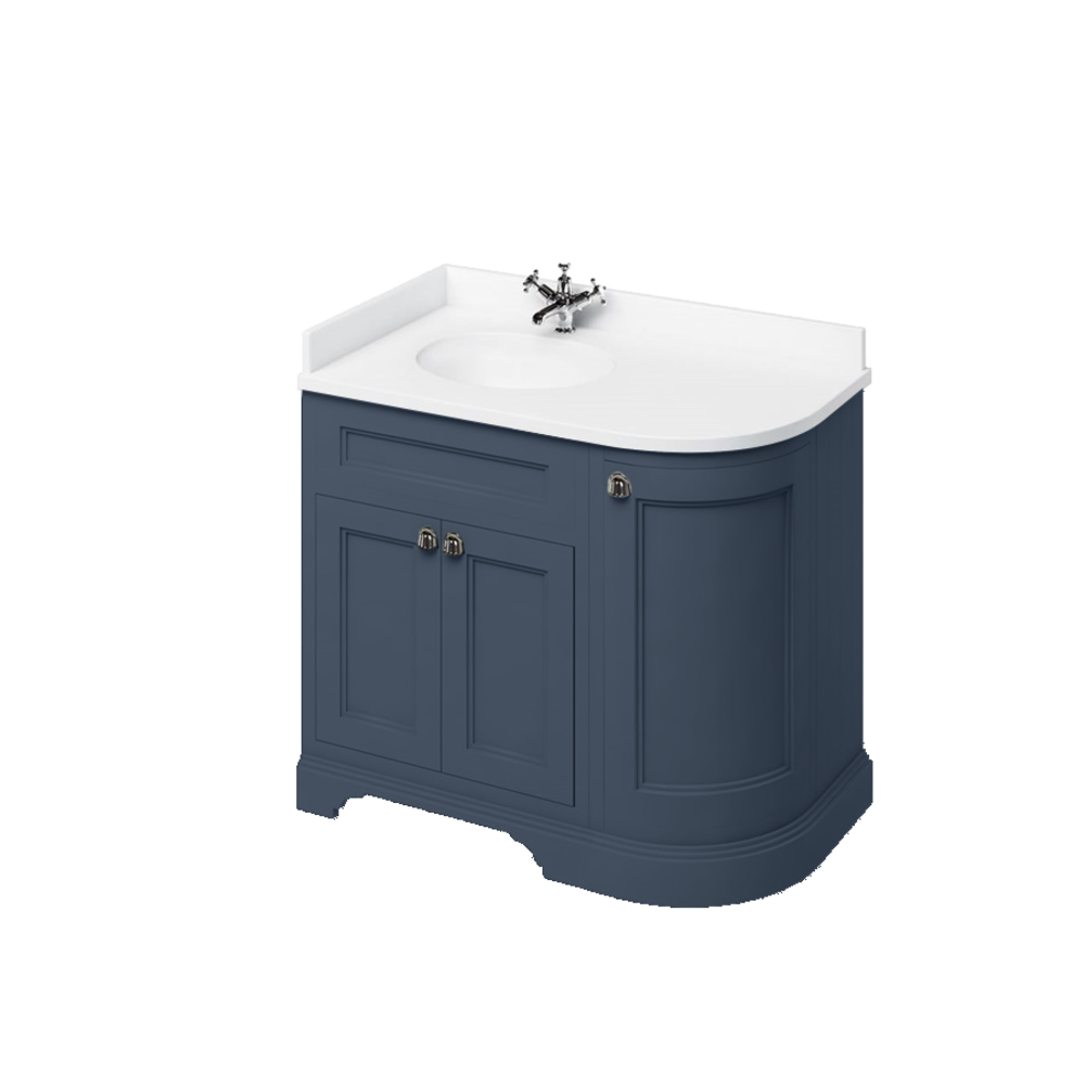 BB Edwardian 100 basin unit with white Minerva top and basin left hand FC2-BW98L
