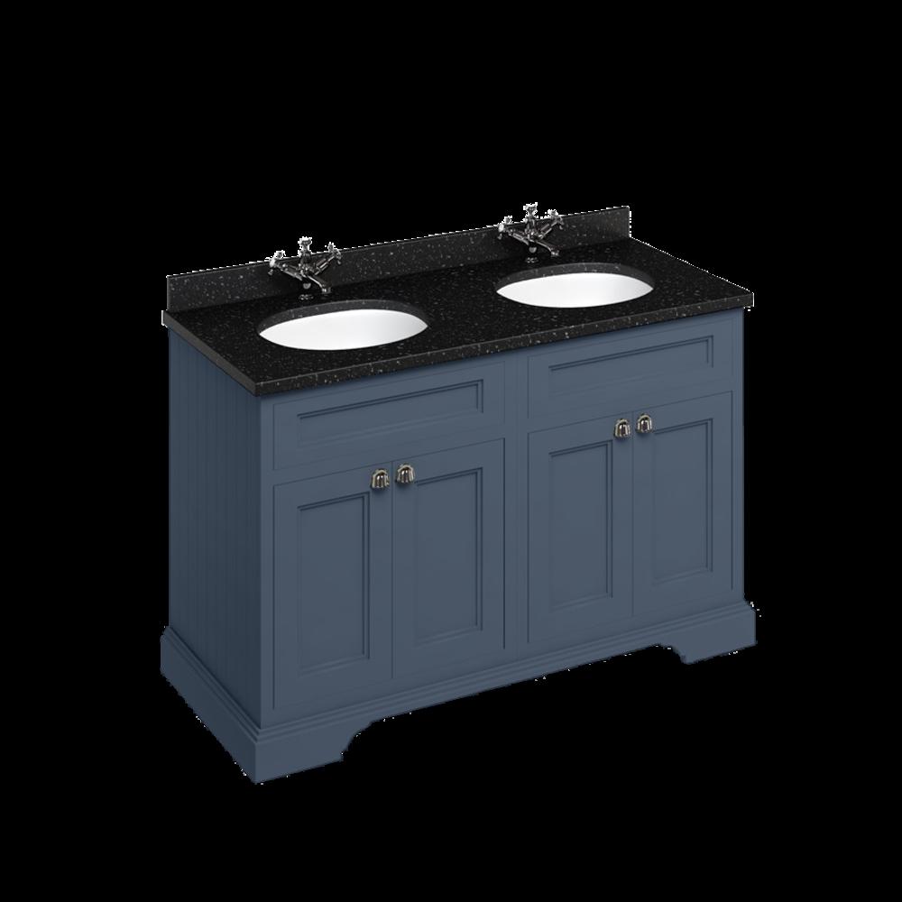 BB Edwardian 130 basin unit with Black Granite Minerva top and 2 basin FC9-BB12