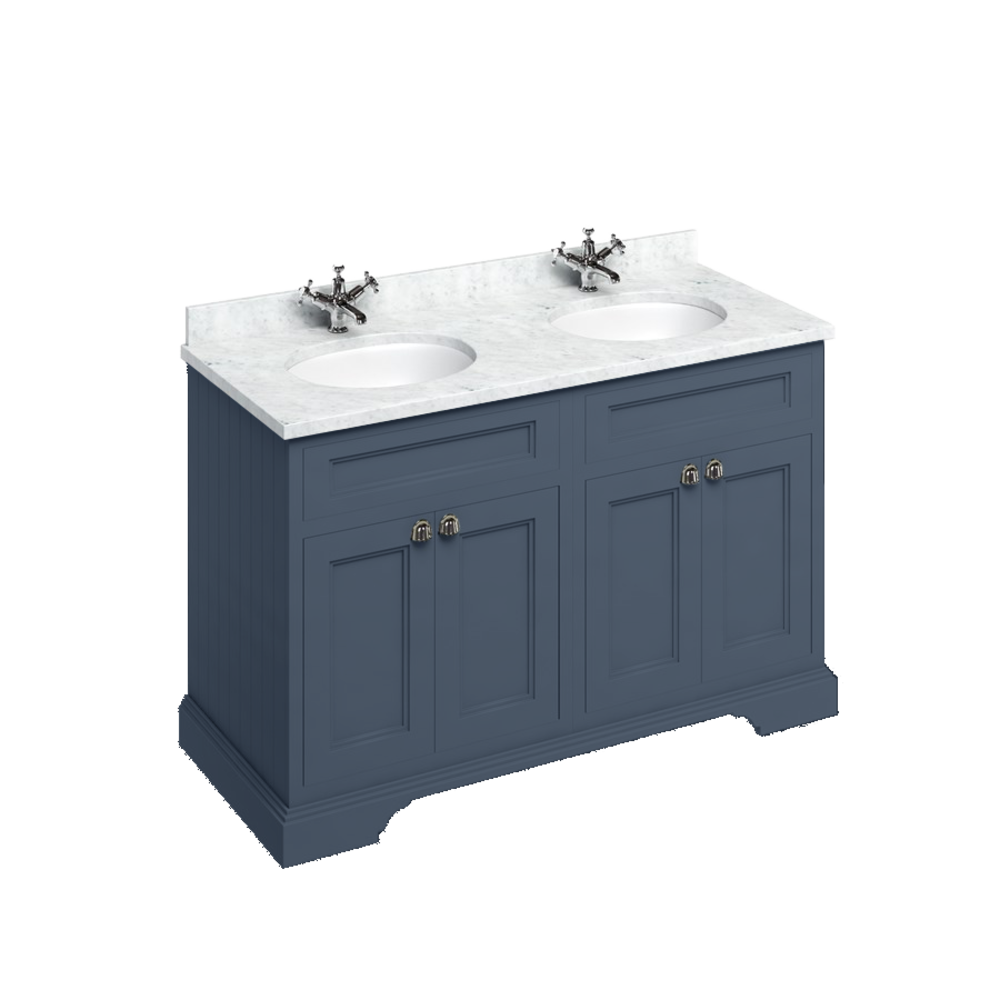 BB Edwardian 130 basin unit with Carrara white Minerva top and 2 basin FC9-BC12