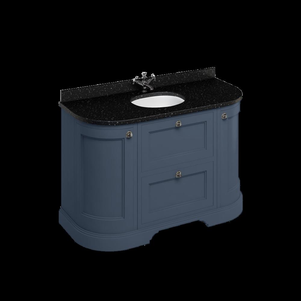 BB Edwardian 134 Wastafelkast met Minerva-blad Black Granite en onderbouwwastafel FC4-BB13