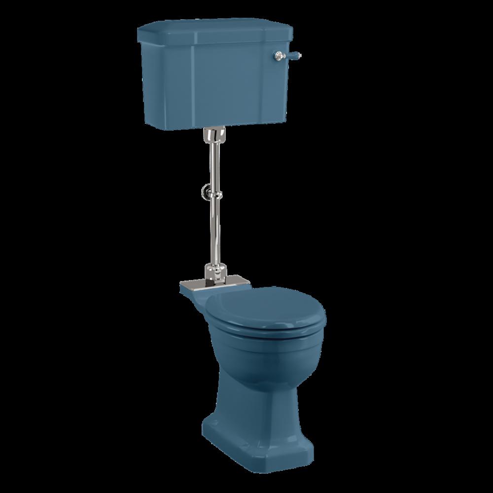 BB Edwardian Bespoke Medium toilet met porseleinen reservoir, achteruitlaat (PK)  - Alaska Blue