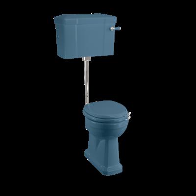 Halfhoog toilet met porseleinen reservoir  - Alaska Blue
