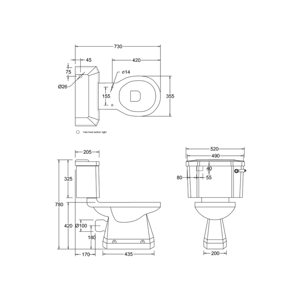 BB Edwardian Bespoke Close coupled toilet with cistern - p-trap - Moon Grey