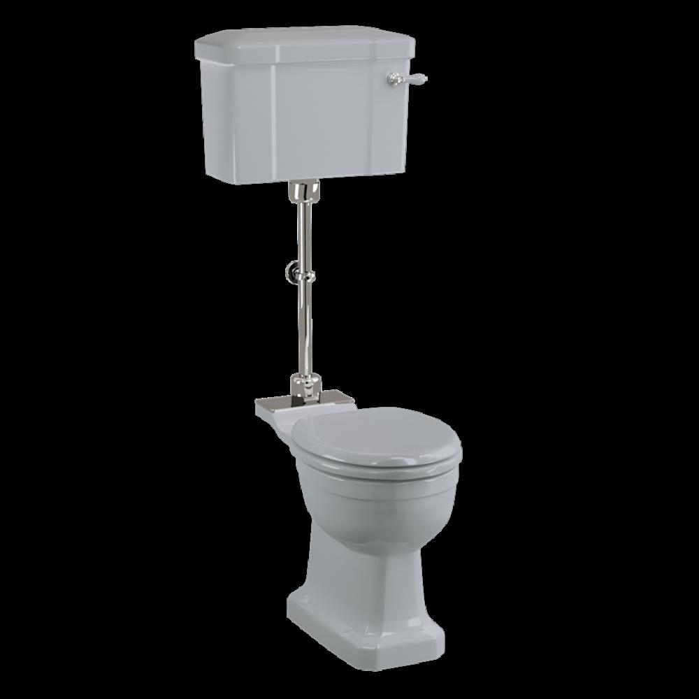 BB Edwardian Bespoke Medium level toilet with porcelain cistern - p-trap - Moon Grey