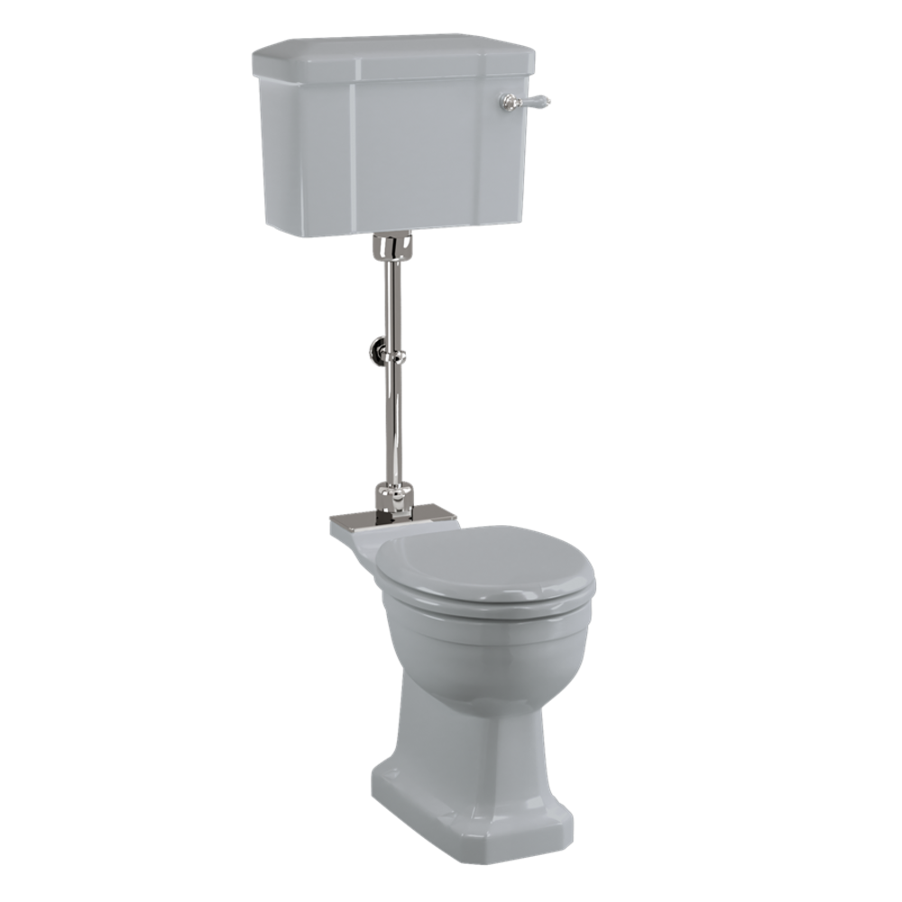 BB Edwardian Bespoke Medium toilet met porseleinen reservoir, achteruitlaat (PK)  - Moon Grey