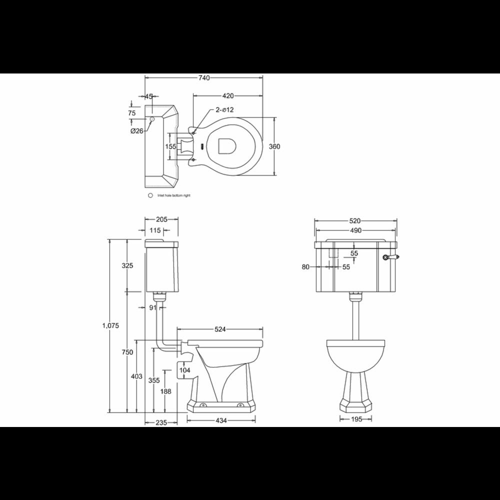 BB Edwardian Bespoke Low level toilet (p-trap) with porcelain cistern - Moon Grey