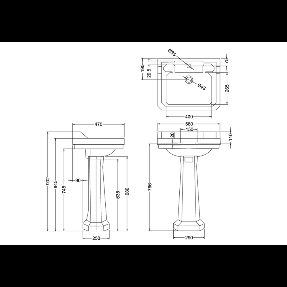 BB Edwardian Bespoke Klassieke wastafel Edwardian Bespoke 56cm Charleston met zuil