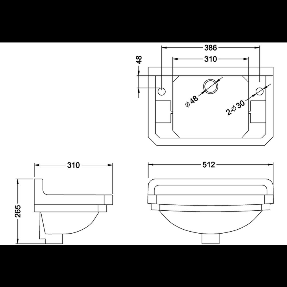 BB Edwardian Bespoke Edwardian Bespoke 51cm cloakaroom basin Charleston, 2 tap holes