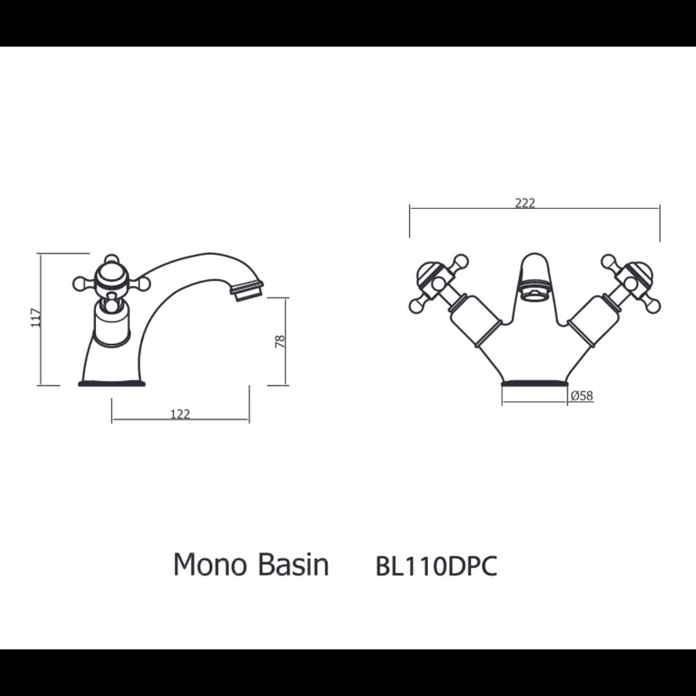 Belgravia Belgravia 1-hole basin mixer with Pop-up waste 110DP