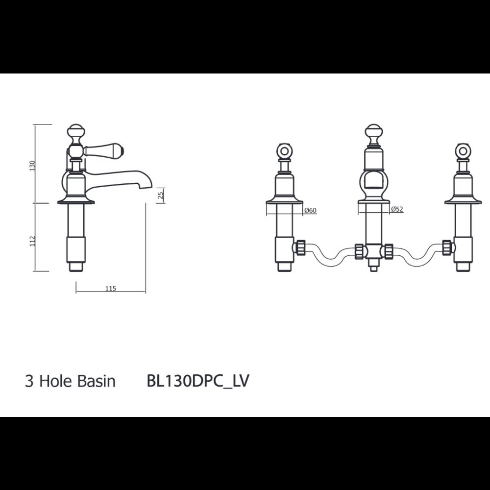 Belgravia Belgravia 3-gats wastafelkraan met pop-up waste BL130DPC_LV