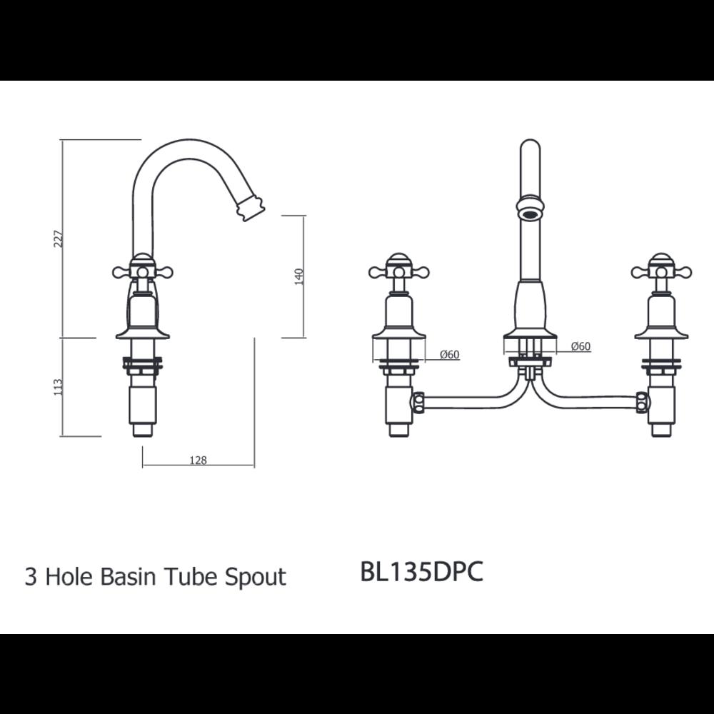 Belgravia Belgravia 3-hole basin mixer with Pop-up waste BL135DPC