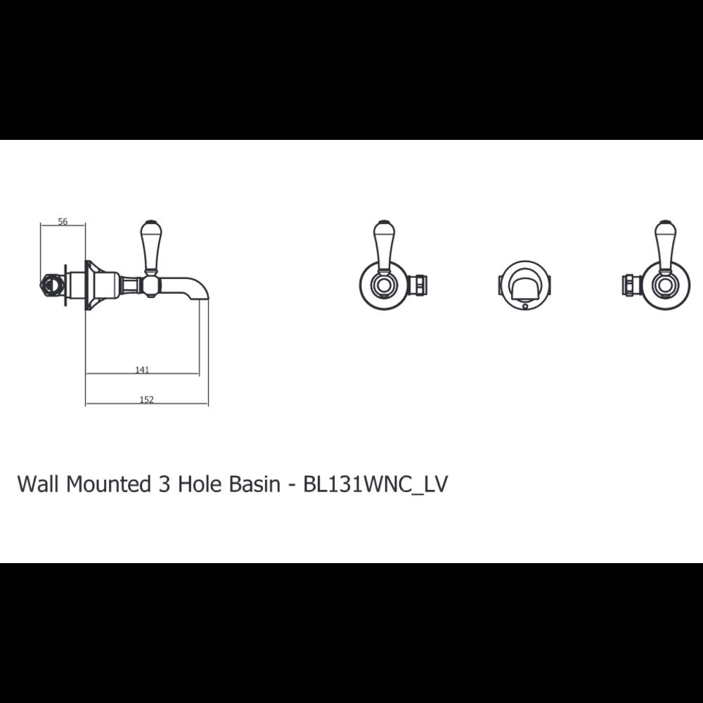 Belgravia Belgravia 3-gats wastafelkraan voor wandmontage BL131WNC