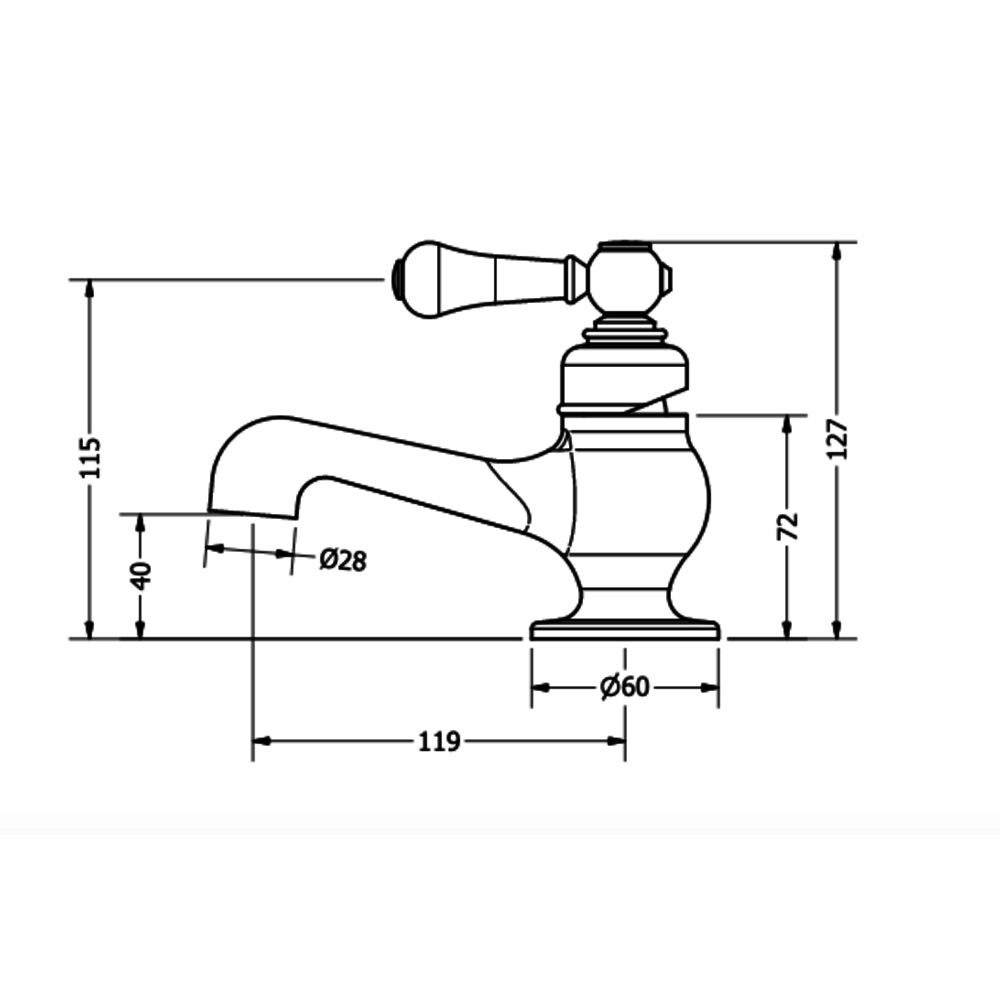 Belgravia Belgravia 1-gats fonteinkraan mini met hendel BL114DNC_LV