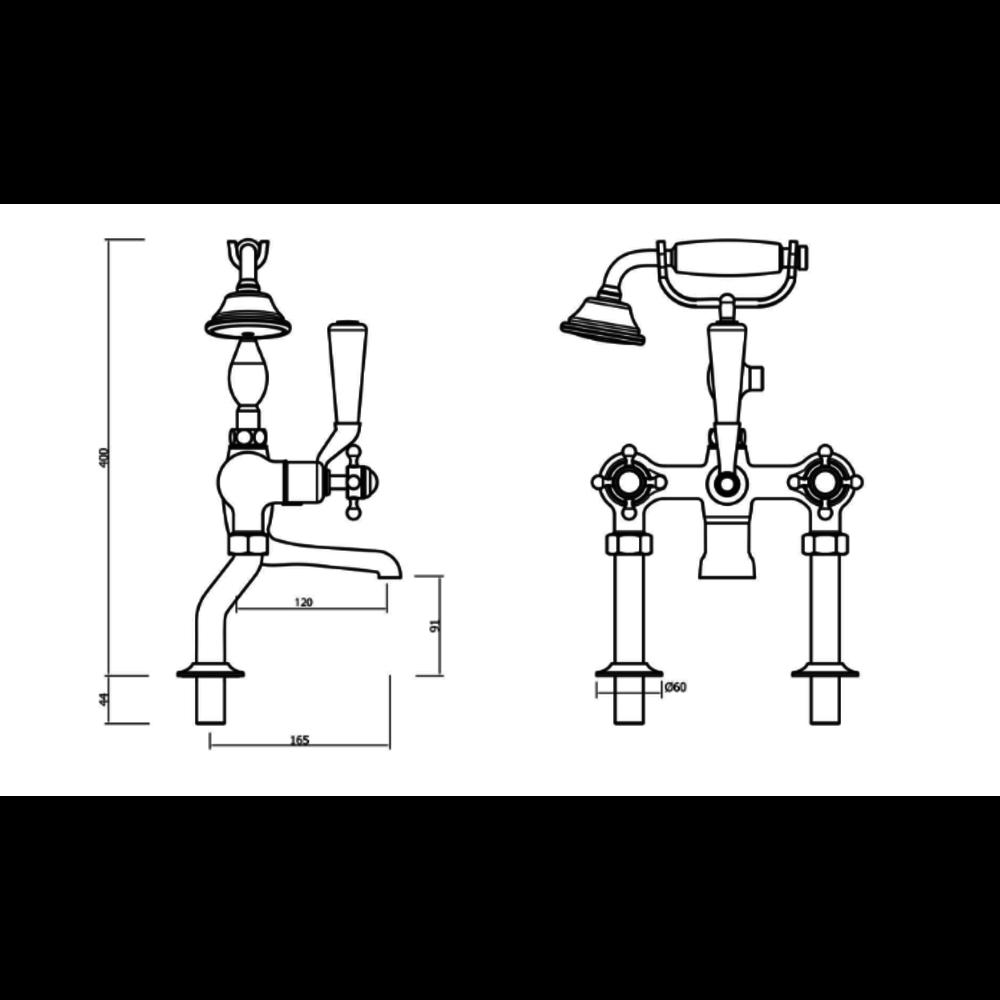Belgravia Belgravia Freestanding crosshead bath shower mixer with stand pipes 422-D002F