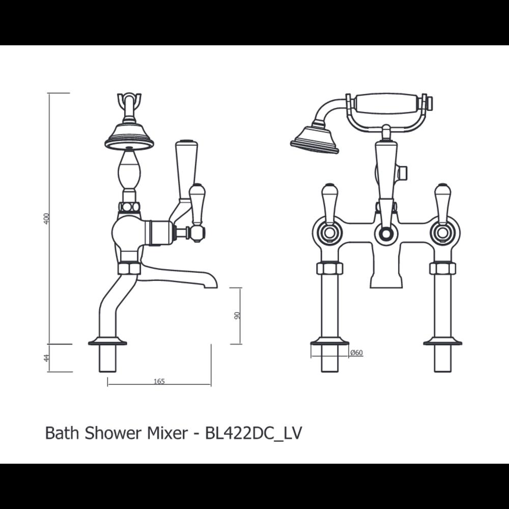 Belgravia Belgravia Freestanding lever bath shower mixer with stand pipes BL422DC_LV-BL002FC