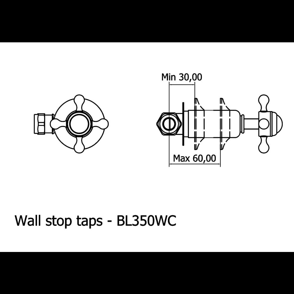 Belgravia Belgravia 3-gats wand badkraan met kruisgrepen BL0370WC-BL350WC