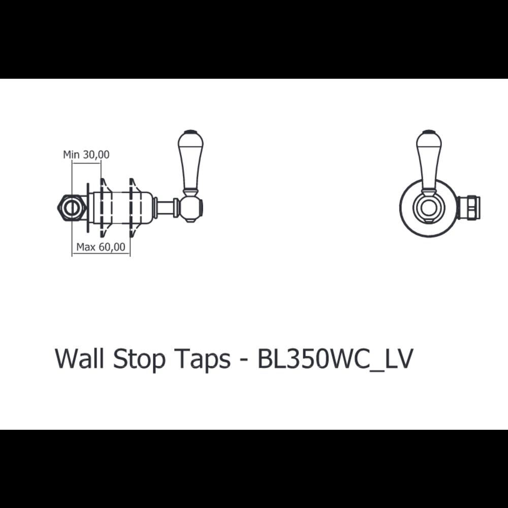 Belgravia Belgravia 3-gats wand badkraan met hendels BL0370WC-BL350WC_LV