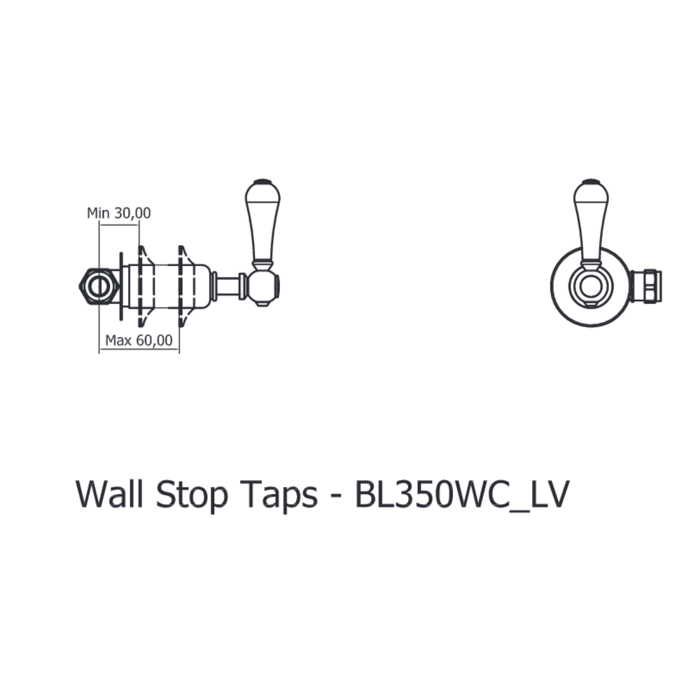 Belgravia Belgravia wall mounted 3-hole bath filler with levers BL0370WC-BL350WC_LV