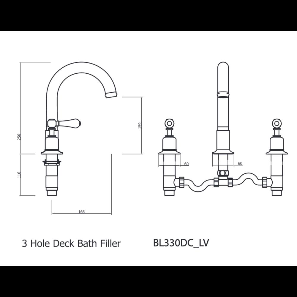 Belgravia Belgravia Lever 3-hole bath mixer BL330DC_LV