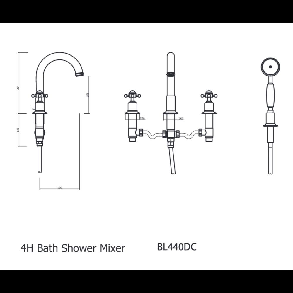 Belgravia Belgravia Crosshead 4-hole bath mixer BL440DC