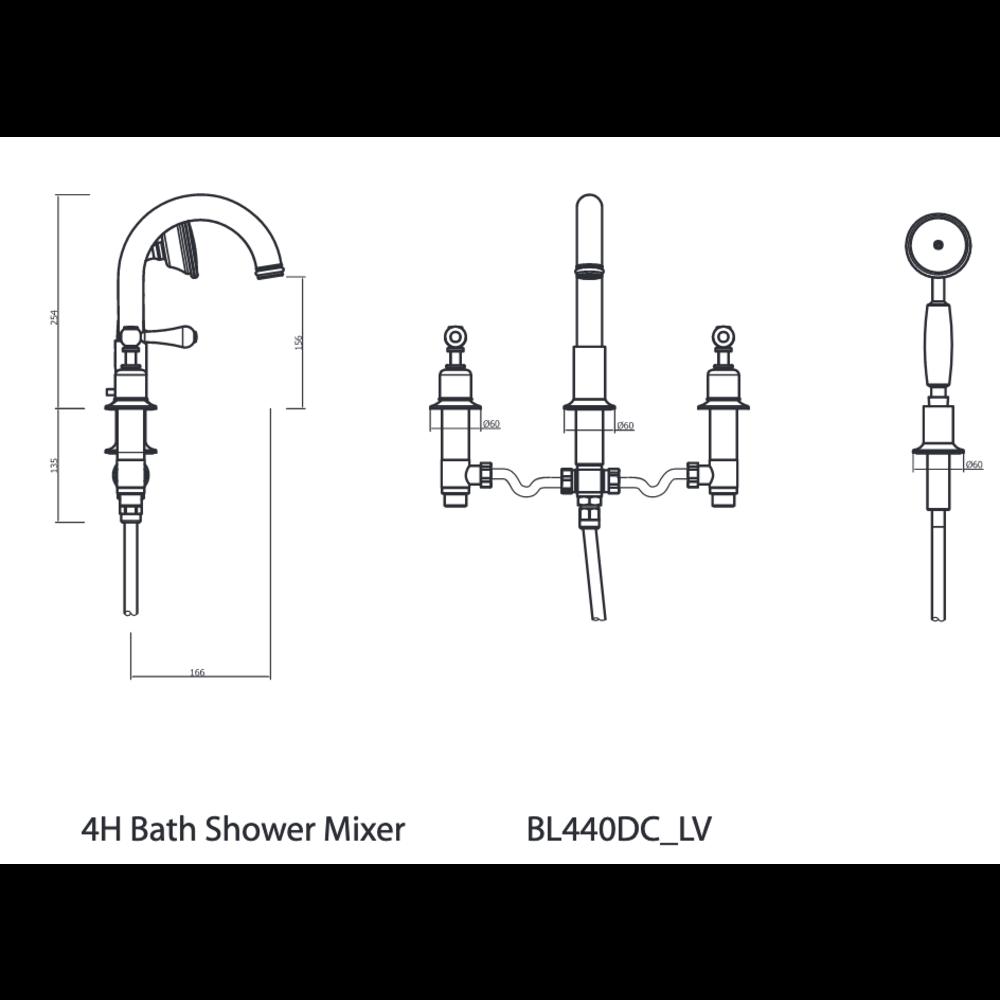 Belgravia Belgravia Lever 4-hole bath mixer BL440DC_LV