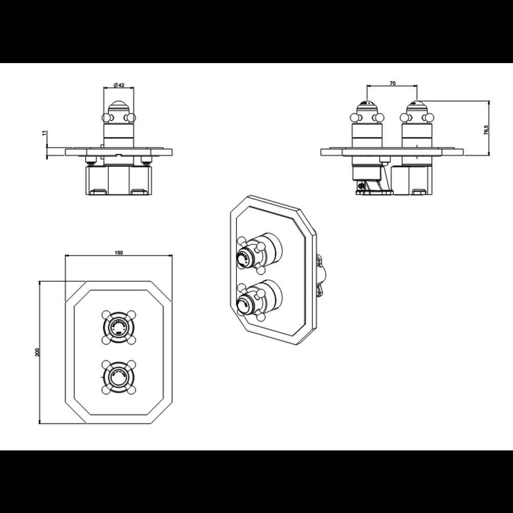 Belgravia Belgravia inbouw douchethermostaat Crossbox 2 Outlet CB1500LBP