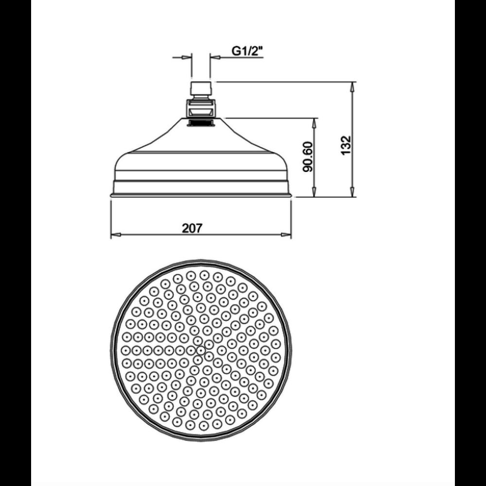 """Belgravia Belgravia 8"""" (20cm) shower rose easy clean FH08C_EC+"""
