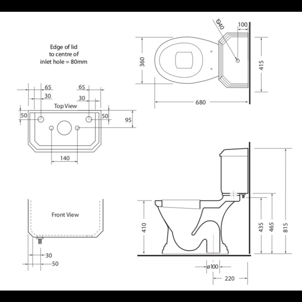 Imperial Deco Duoblok toilet met porseleinen hendel, onderuitlaat (AO)