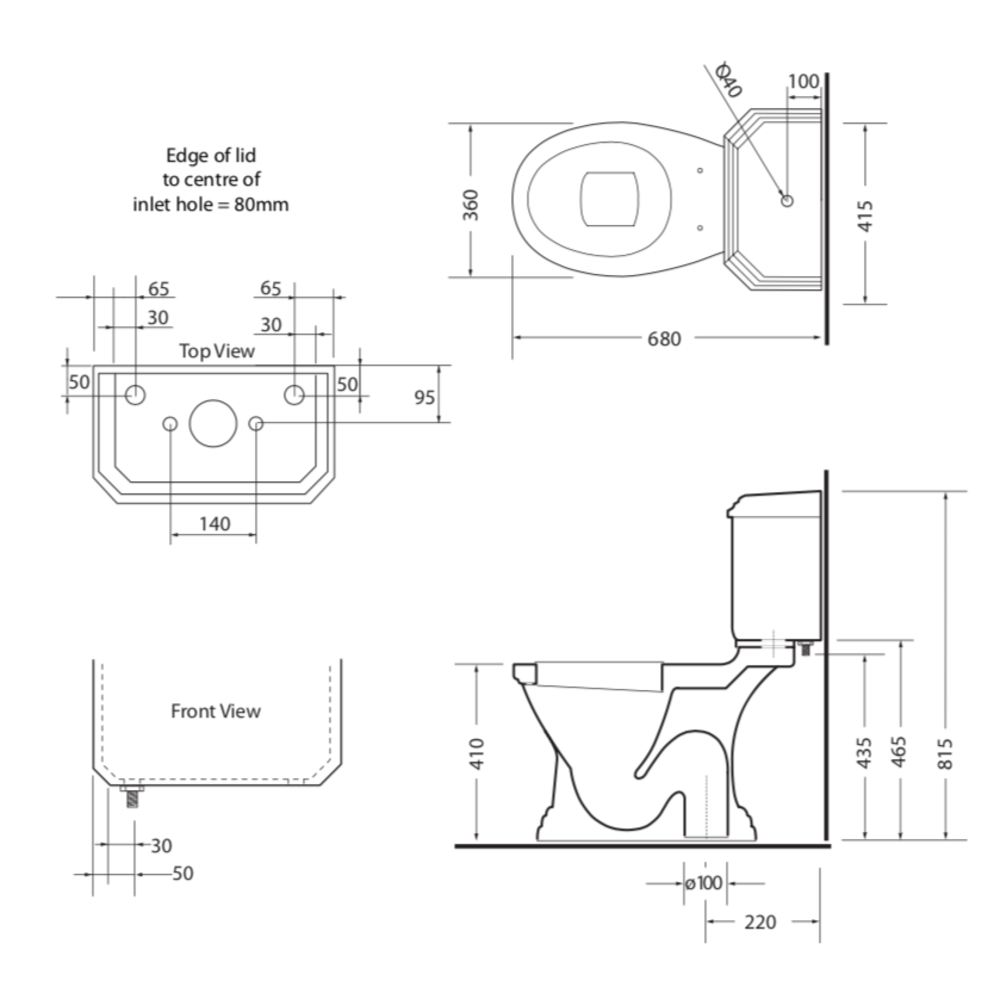 Imperial Deco Duoblok toilet met porseleinen hendel, onderuitlaat (AO)  - keramiek zwart