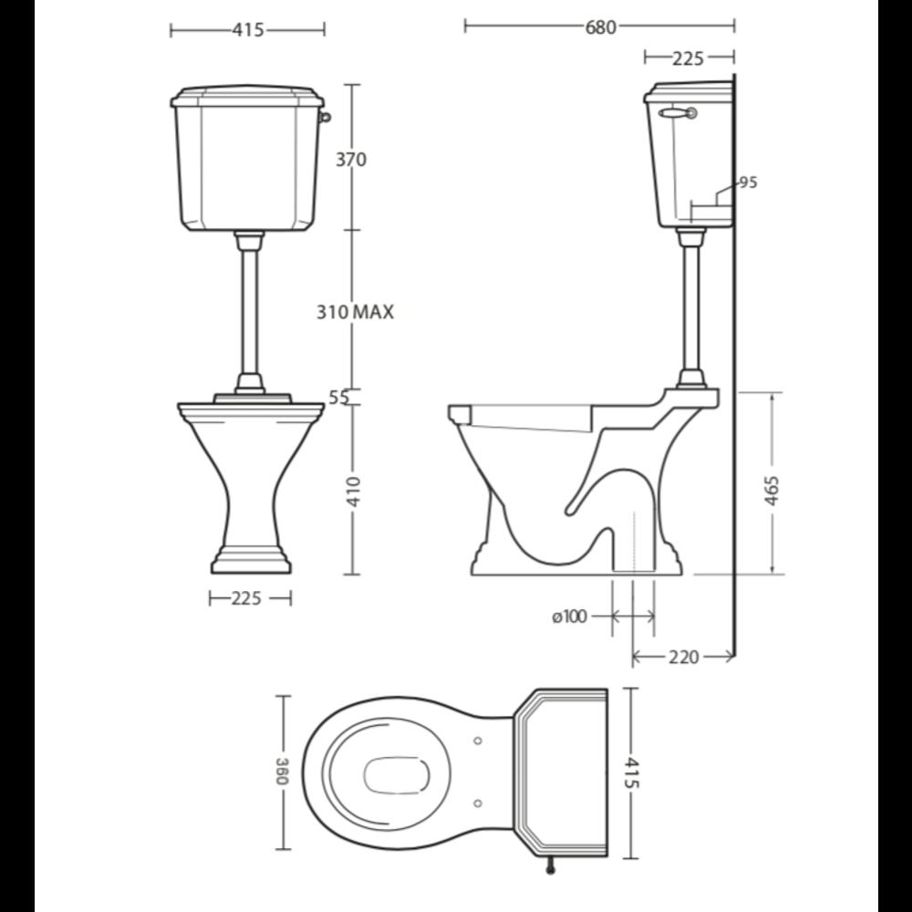 Imperial Deco toilet onderuitlaat (AO) met halfhoog stortbak - keramiek zwart