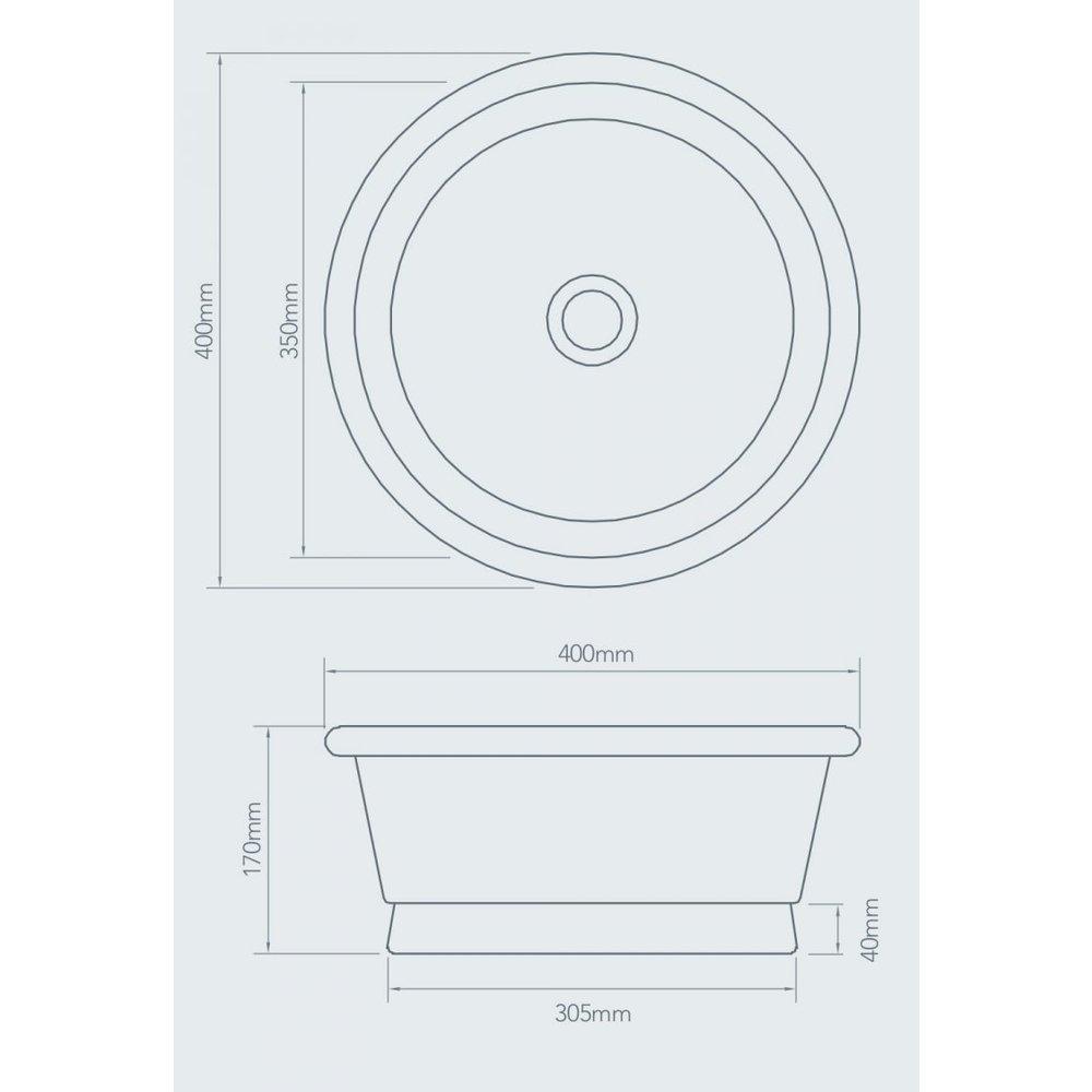 William Holland WH Metalen opbouw wastafel Rotundus 400