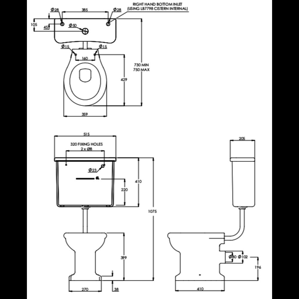 Lefroy Brooks 1910 La Chapelle LB La Chapelle Low level toilet with cistern