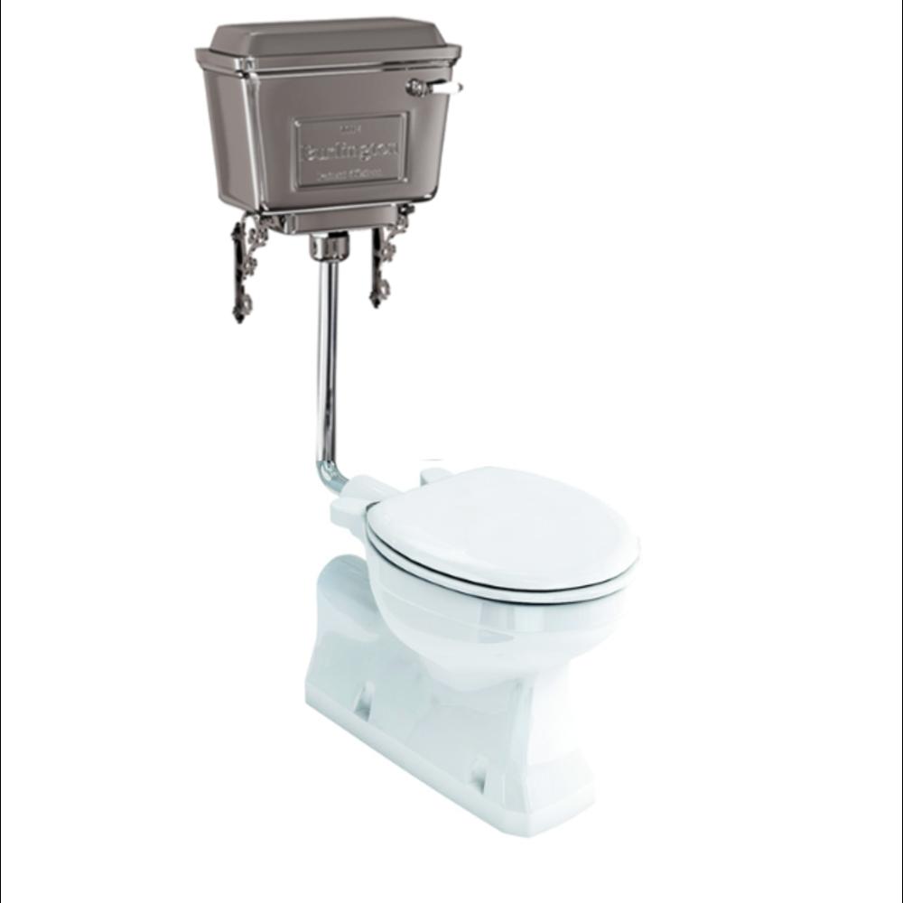 BB Edwardian Halfhoog toilet met aluminium reservoir, onderuitlaat (AO)