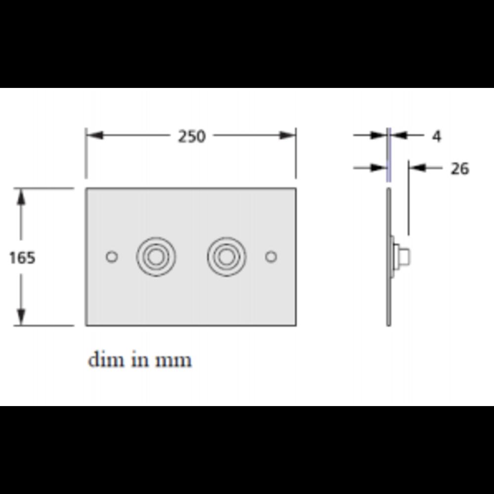 Aquadomo Aquadomo Diamond Dual Flush bedieningspaneel voor inbouwreservoir