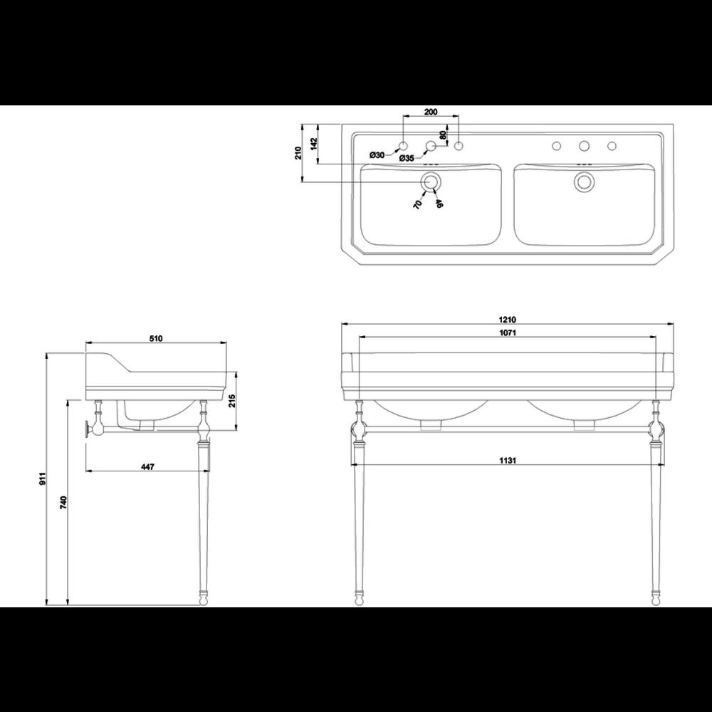 BB Edwardian Edwardian 120cm double basin with metal stand