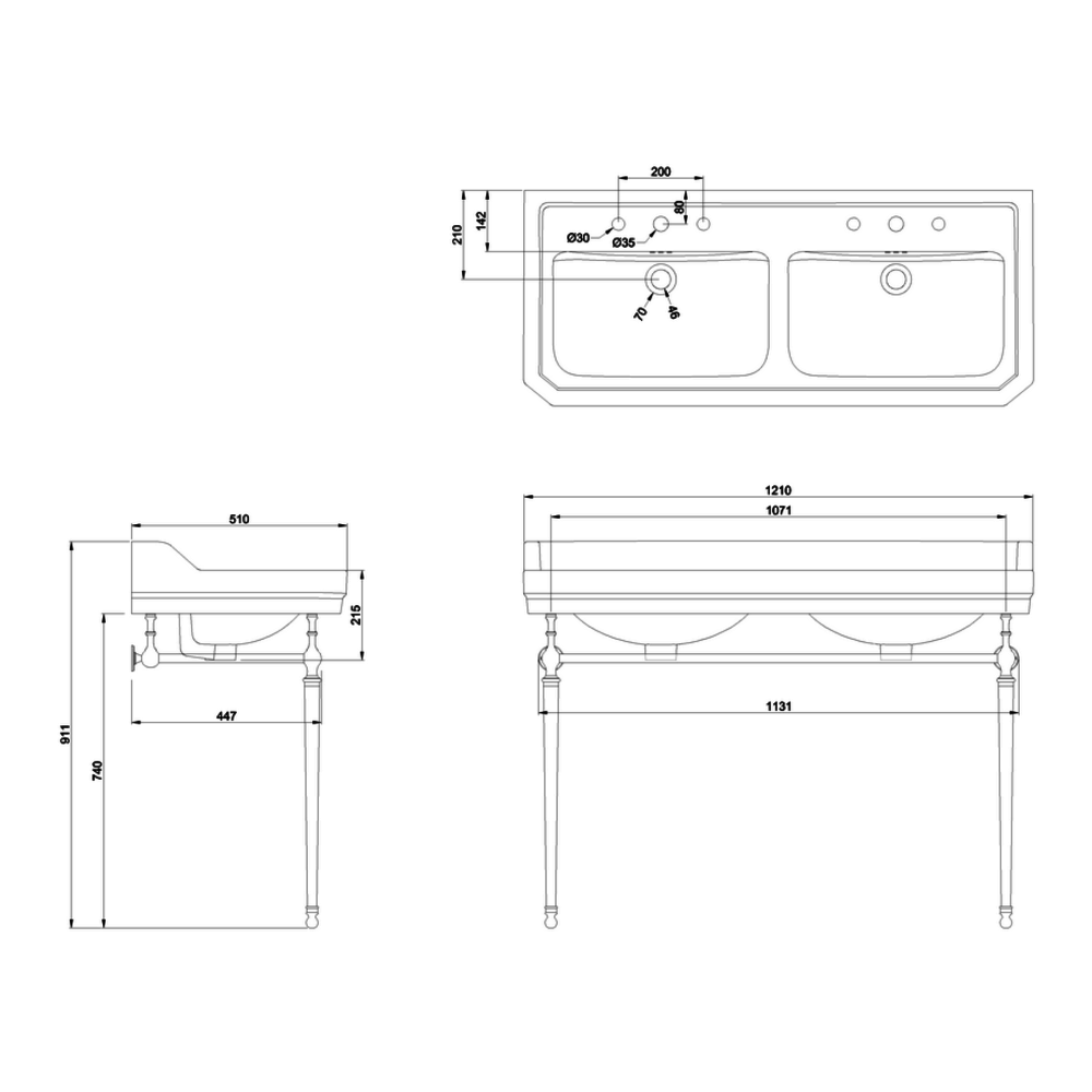 BB Edwardian Klassieke dubblee wastafel Edwardian 120cm met metalen onderstel B21-T51