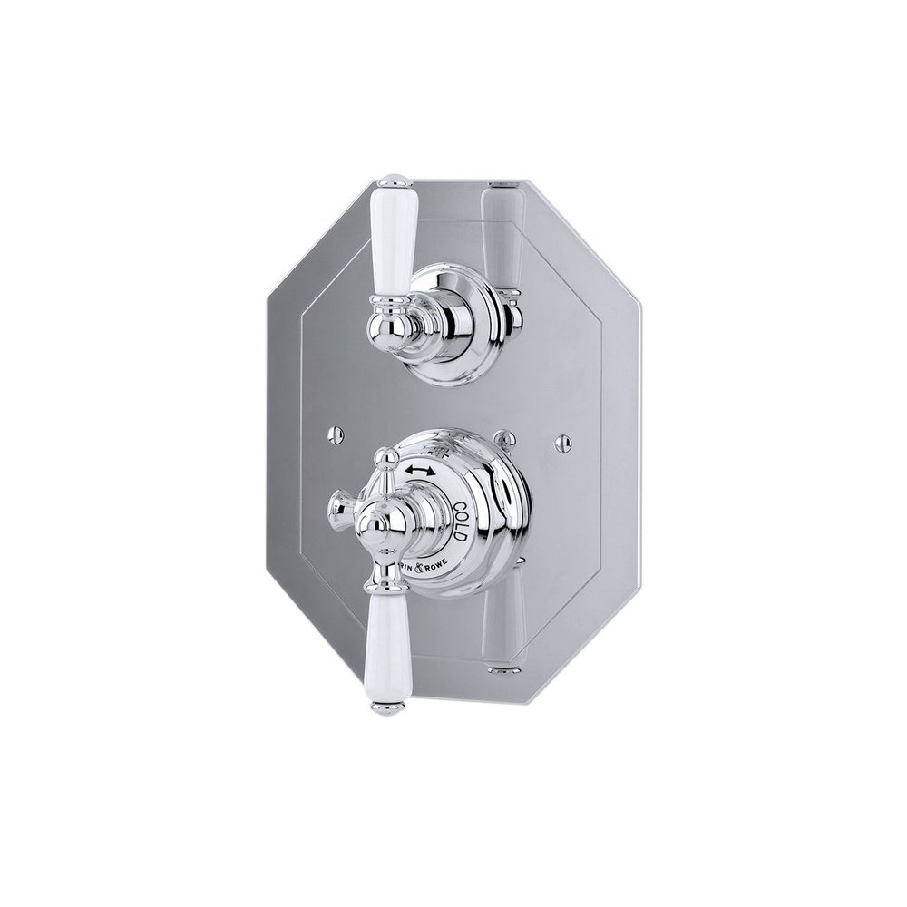 Perrin & Rowe Victorian White Concealed shower thermo with diverter 5578