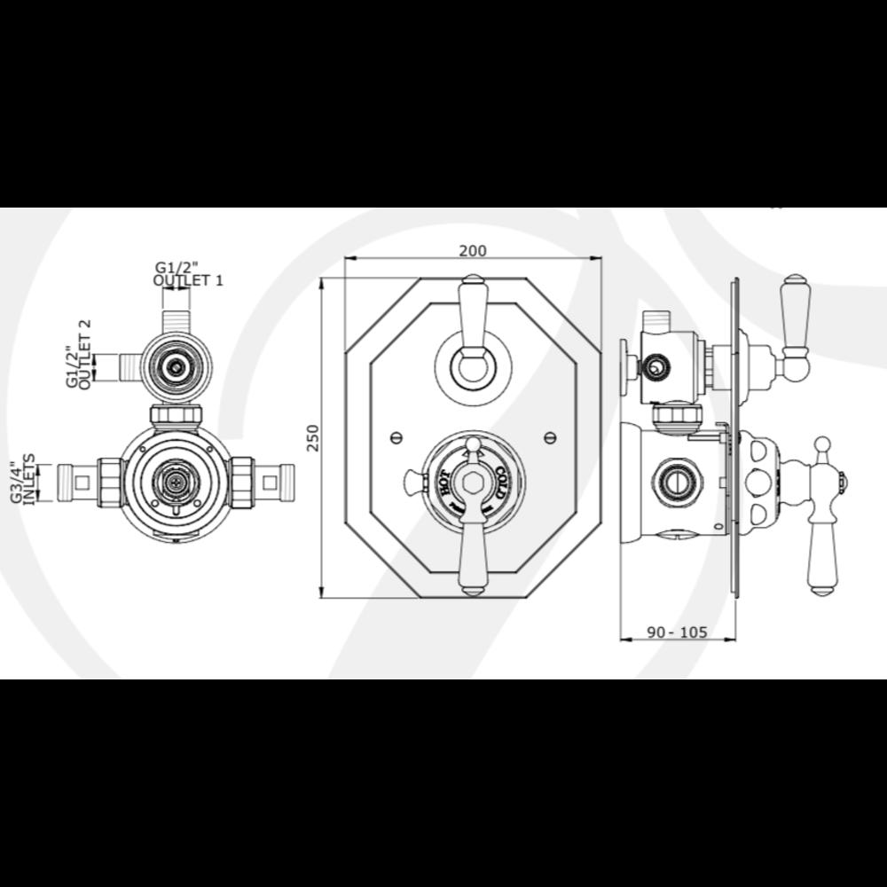 Perrin & Rowe Victorian Black Inbouw douchethermostaat met diverter 5578BL