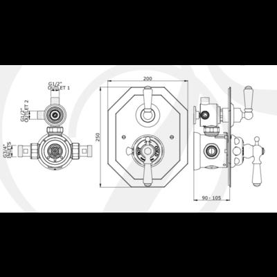 Victorian Black Unterputz-Duschthermostat 5578BL
