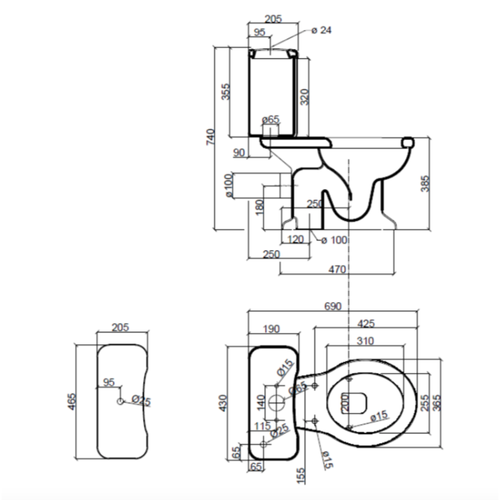 Sbordoni Palladio Close coupled toilet with cistern