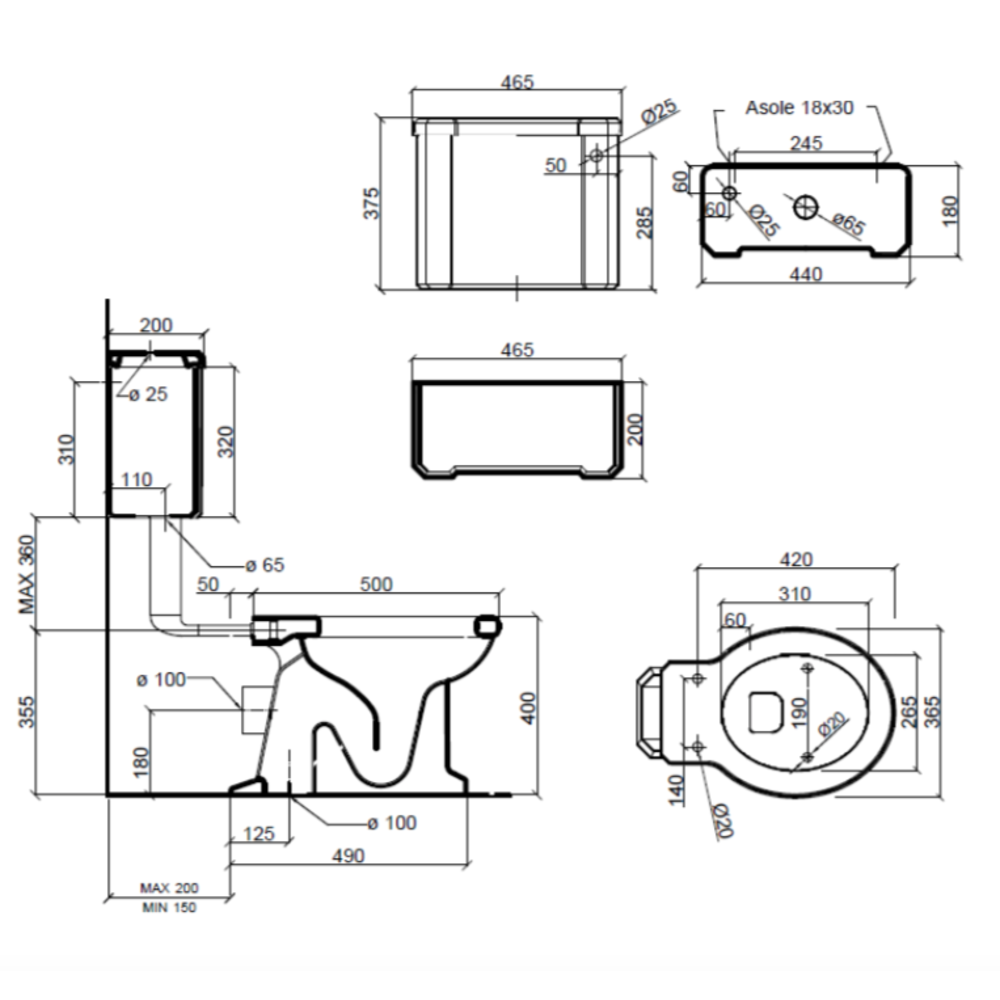 Sbordoni Neoclassica Low level toilet with ceramic cistern