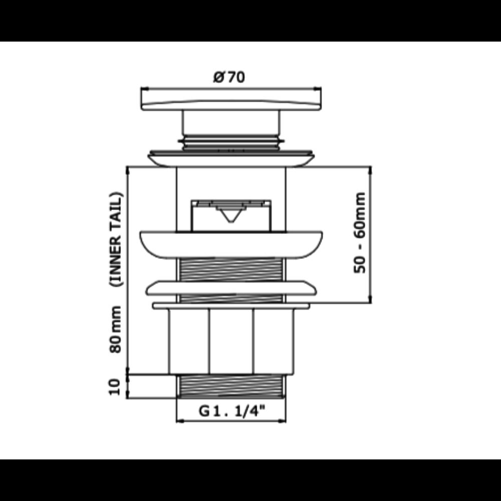 Perrin & Rowe P&R wastafel push-waste  6800