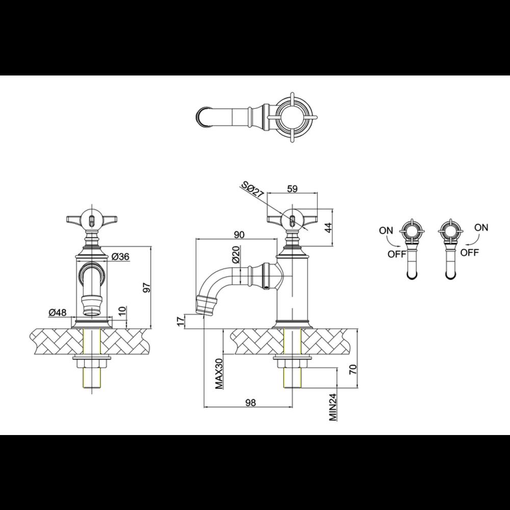 BB Arcade Cross 1-gats fonteinkraan met kruisgreep, koudwater- zonder waste