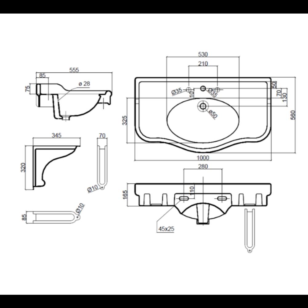 Sbordoni Klassieke wastafel SB Palladio 71.5cm  met porseleinen steunen