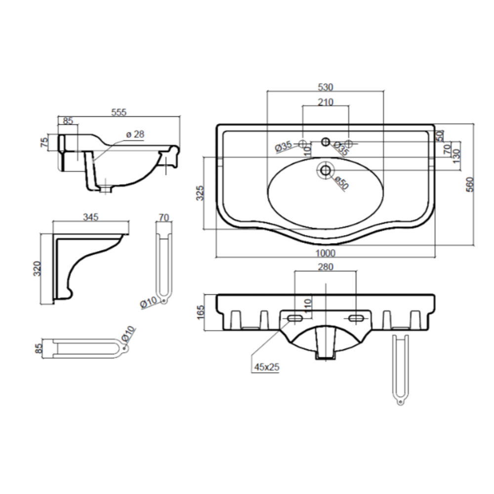Sbordoni SB Palladio 71.5cm console basin with porcelain brackets