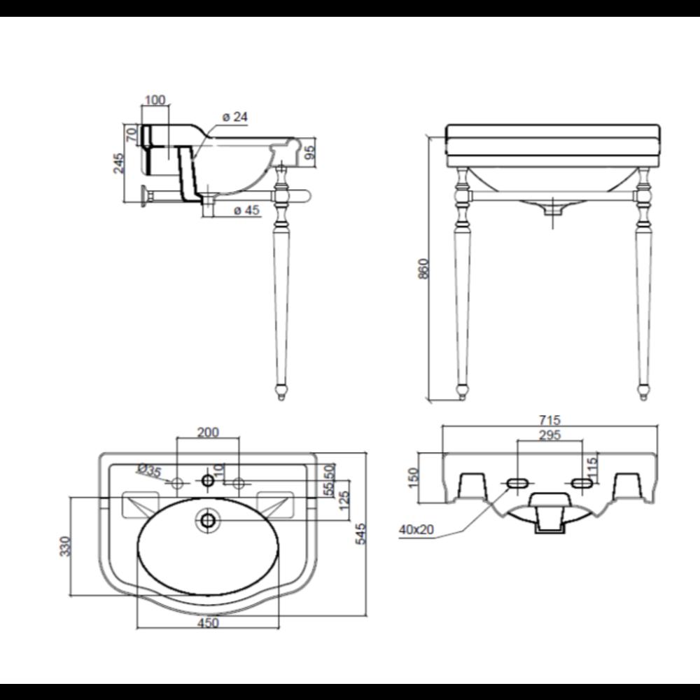 Sbordoni SB Palladio 71.5cm console basin with stand